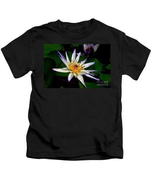 Beautiful Violet White And Yellow Water Lily Flower Kids T-Shirt