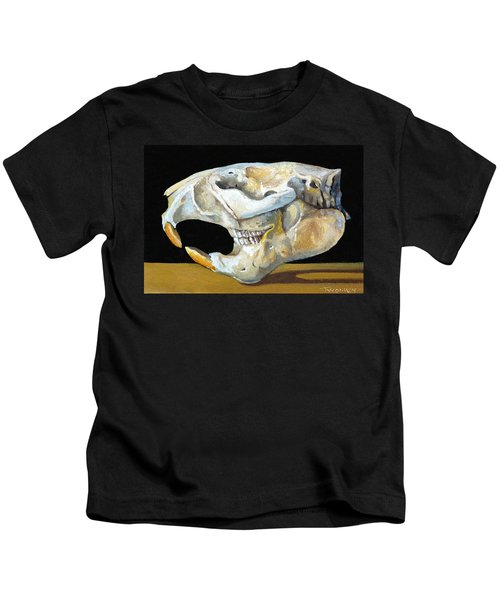 Beaver Skull 1 Kids T-Shirt by Catherine Twomey