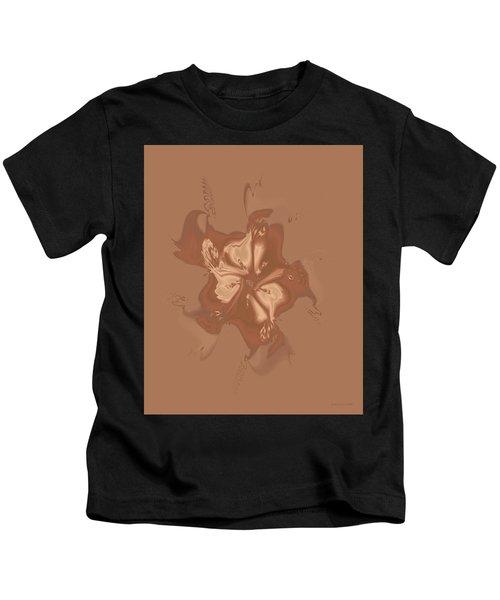 Beige Satin Morning Glory Kids T-Shirt