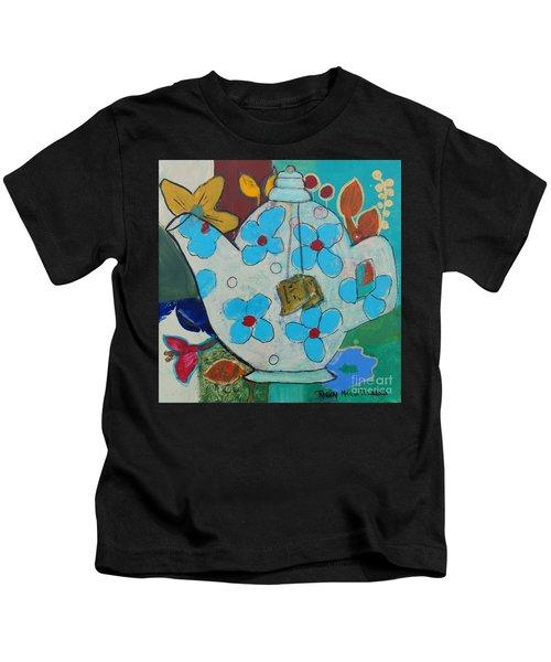 Big Floral Tea Pot Kids T-Shirt