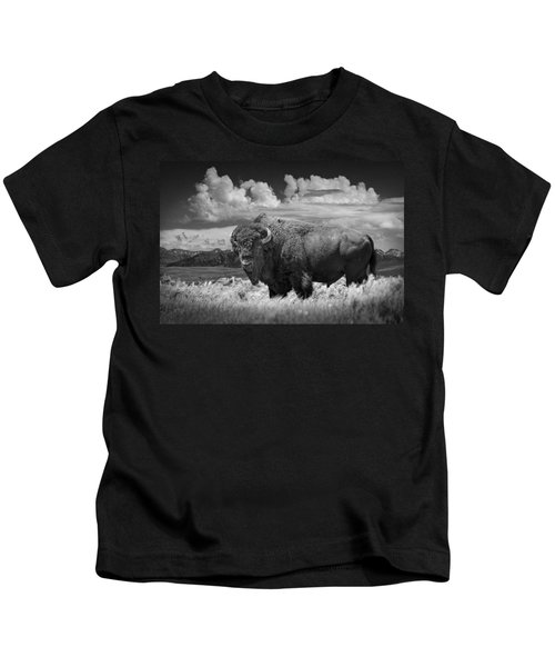 Black And White Photograph Of An American Buffalo Kids T-Shirt