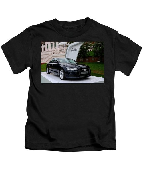 Black Audi A6 Classic Saloon Car Kids T-Shirt