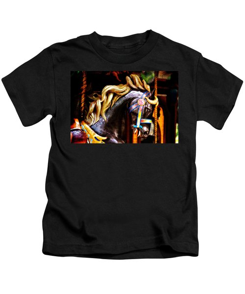 Black Carousel Horse Kids T-Shirt