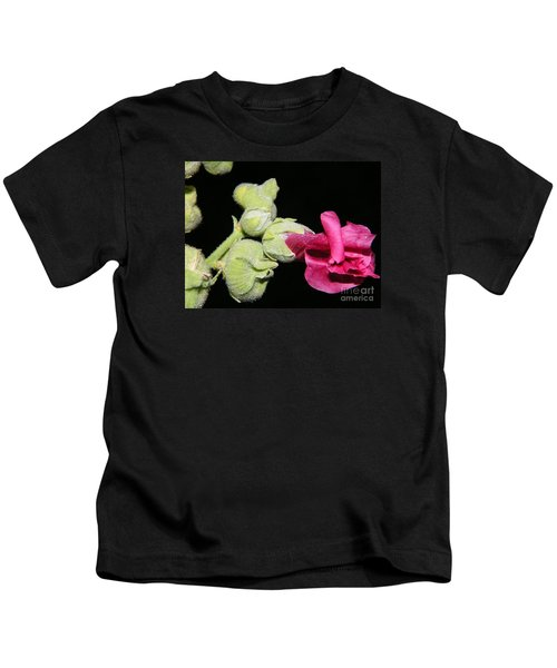 Blooming Pink Hollyhock Kids T-Shirt