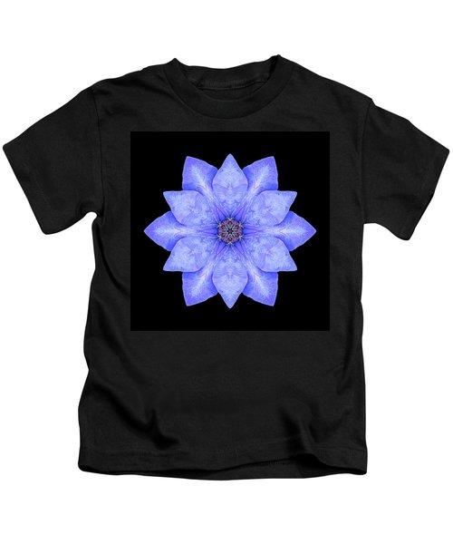 Blue Clematis Flower Mandala Kids T-Shirt