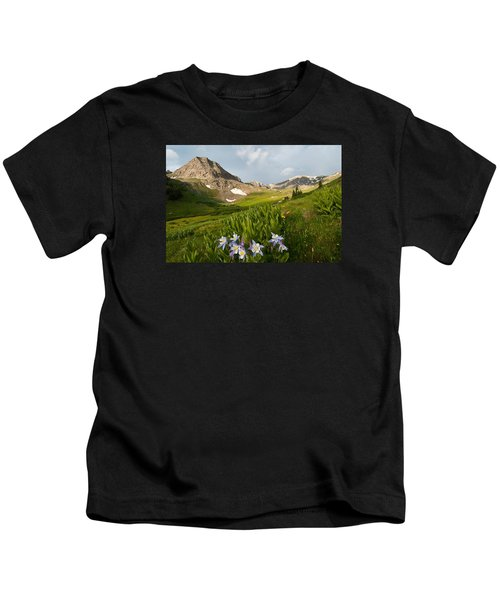 Handie's Peak And Blue Columbine On A Summer Morning Kids T-Shirt