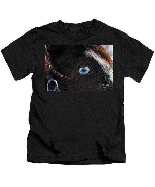 Blue Eyed Horse Kids T-Shirt
