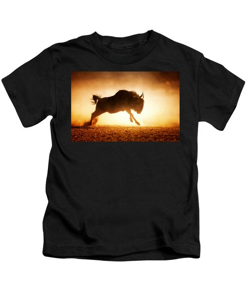 Blue Wildebeest Running In Dust Kids T-Shirt