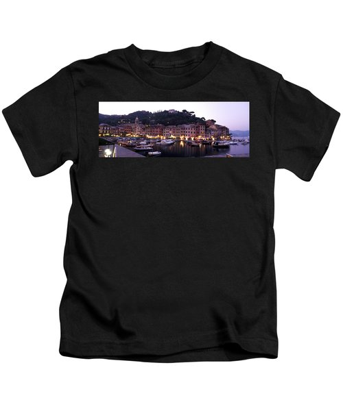 Boats At A Harbor, Portofino, Genoa Kids T-Shirt
