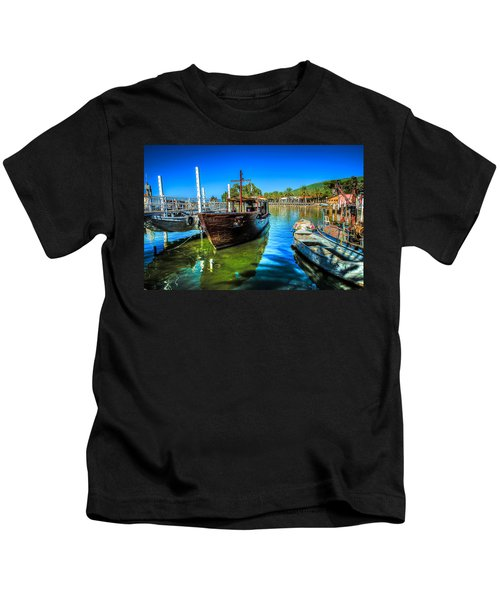 Boats At Kibbutz On Sea Galilee Kids T-Shirt