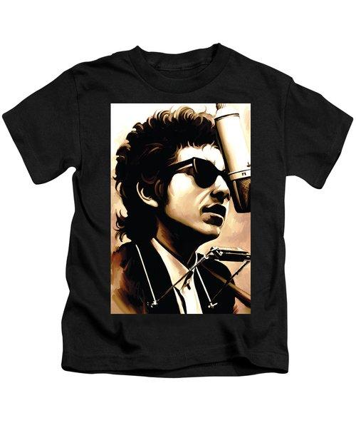 Bob Dylan Artwork 3 Kids T-Shirt by Sheraz A