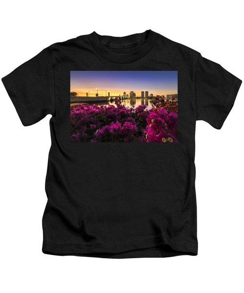 Bougainvillea On The West Palm Beach Waterway Kids T-Shirt