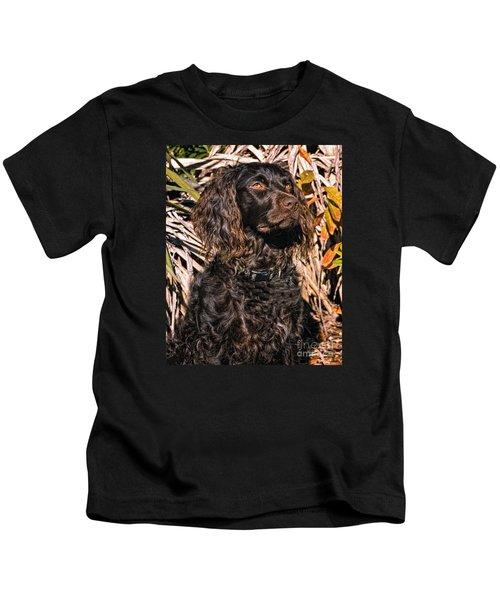 Boykin Spaniel Portrait Kids T-Shirt by Timothy Flanigan
