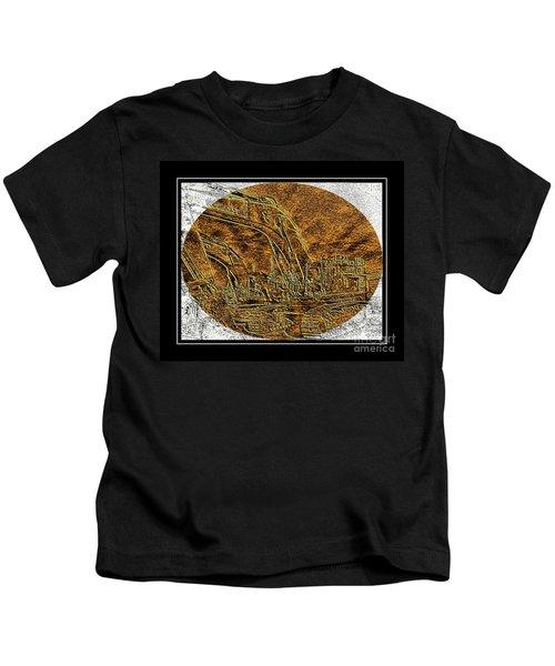 Brass-type Etching - Oval - Construction Worker Kids T-Shirt