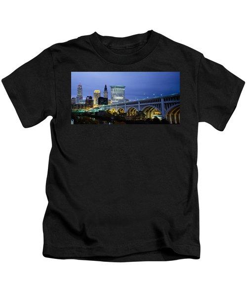 Bridge In A City Lit Up At Dusk Kids T-Shirt