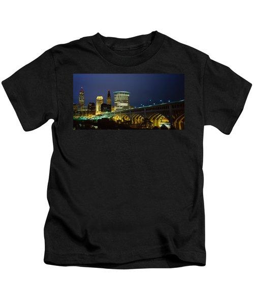 Bridge In A City Lit Up At Night Kids T-Shirt