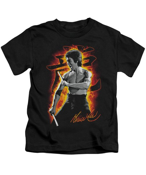Bruce Lee - Dragon Fire Kids T-Shirt by Brand A