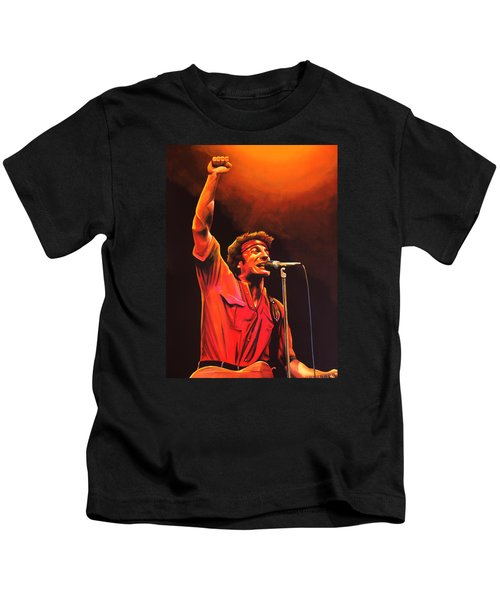 Bruce Springsteen Painting Kids T-Shirt by Paul Meijering