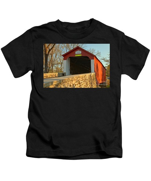 Bucks County Van Sant Covered Bridge Kids T-Shirt