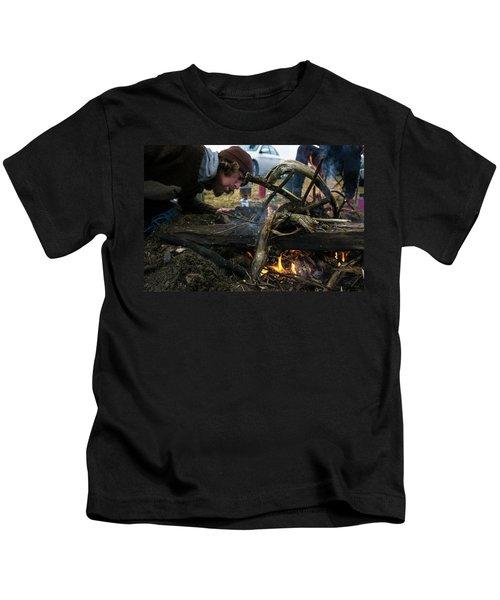 Building A Fire A Camp After A Day Kids T-Shirt