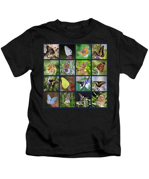 Butterflies Squares Collage Kids T-Shirt