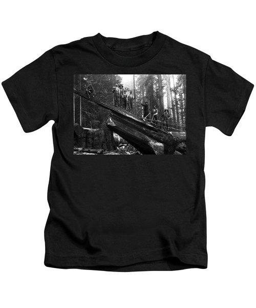 Cabling A Redwood Log C. 1890 Kids T-Shirt