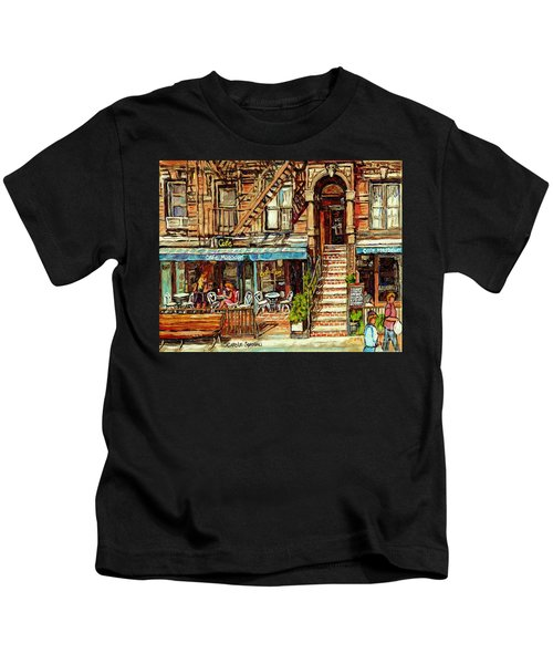 Cafe Mogador Moroccan Mediterranean Cuisine New York Paintings East Village Storefronts Street Scene Kids T-Shirt