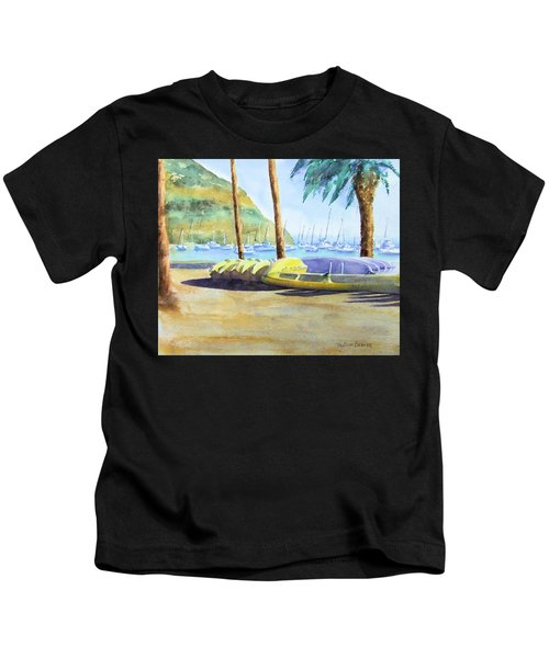 Canoes And Surfboards In The Morning Light - Catalina Kids T-Shirt