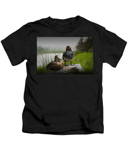 Canvasback Duck Pair By A Pond Kids T-Shirt