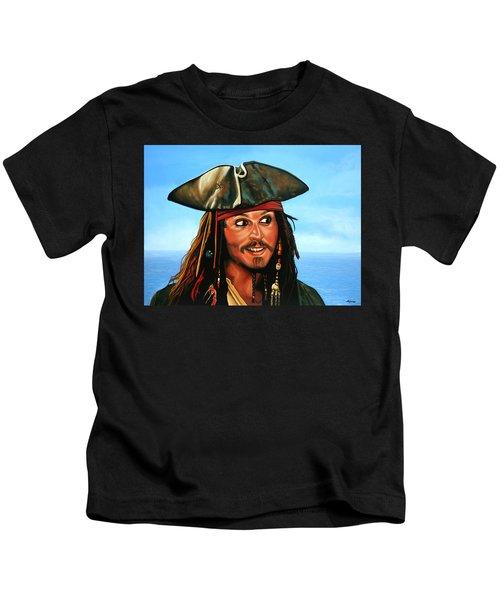 Captain Jack Sparrow Painting Kids T-Shirt by Paul Meijering
