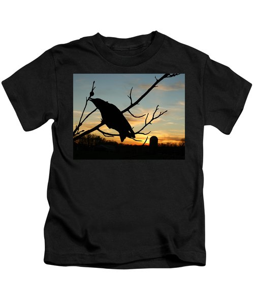 Cawcaw Over Sunset Silhouette Art Kids T-Shirt