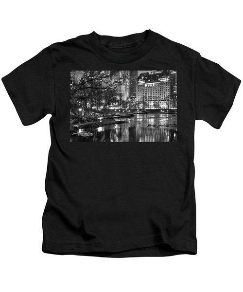 Central Park Lake Night Kids T-Shirt