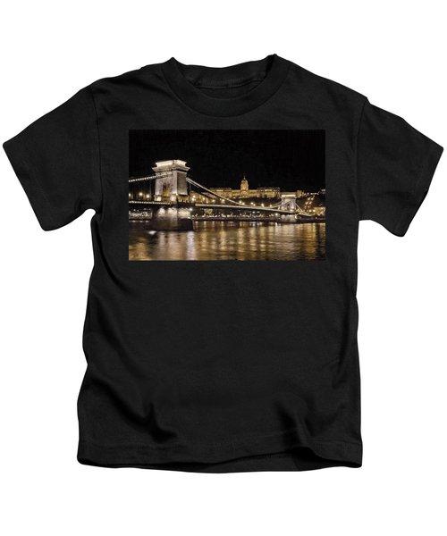 Chain Bridge And Buda Castle Winter Night Painterly Kids T-Shirt