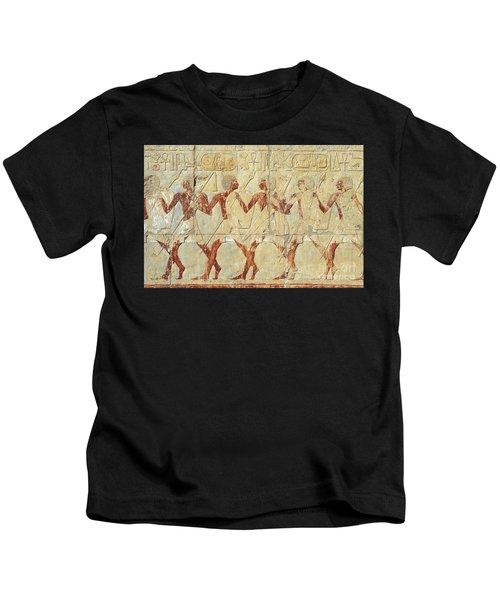 Chapel Of Hathor Hatshepsut Nubian Procession Soldiers - Digital Image -fine Art Print-ancient Egypt Kids T-Shirt