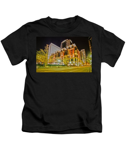 Charlotte City Skyline Night Scene Kids T-Shirt