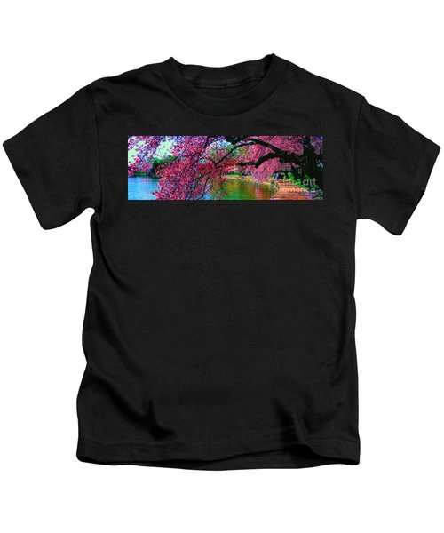 Cherry Blossom Walk Tidal Basin At 17th Street Kids T-Shirt