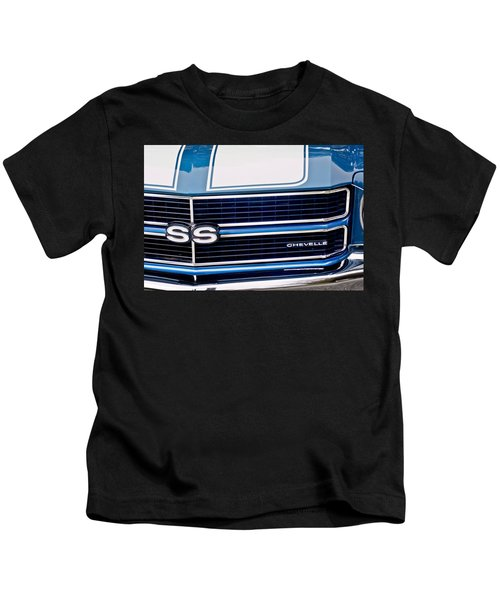 Kids T-Shirt featuring the photograph Chevrolet Chevelle Ss Grille Emblem 2 by Jill Reger