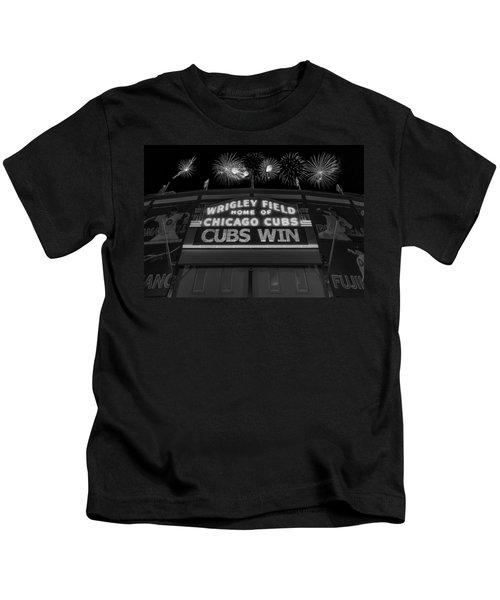 Chicago Cubs Win Fireworks Night B W Kids T-Shirt