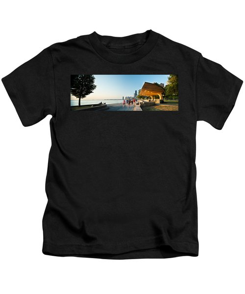 Chicago Lakefront Panorama Kids T-Shirt by Steve Gadomski