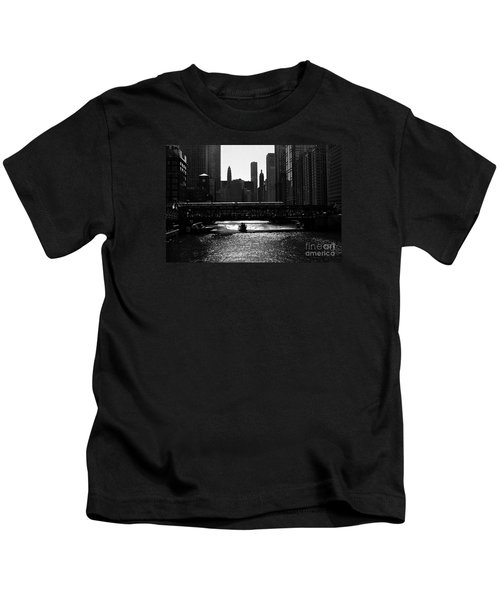 Chicago Morning Commute - Monochrome Kids T-Shirt
