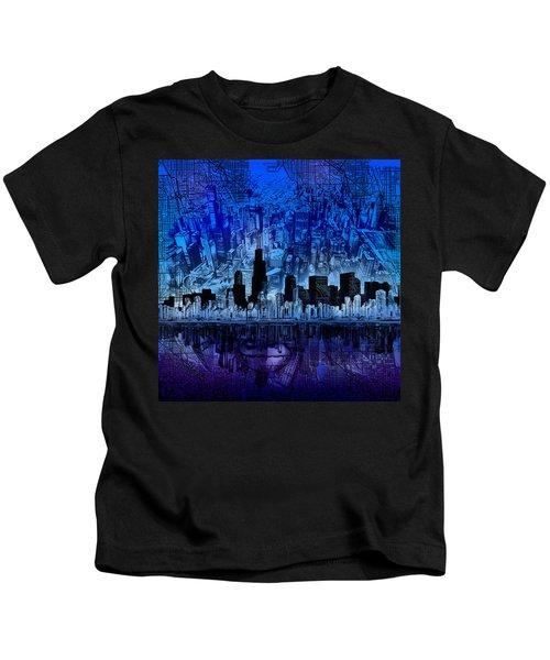 Chicago Skyline Blue Version Kids T-Shirt