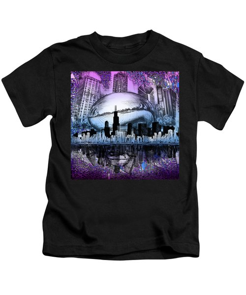 Chicago Skyline Drawing Collage 2 Kids T-Shirt