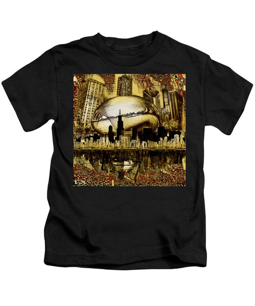 Chicago Skyline Drawing Collage 3 Kids T-Shirt
