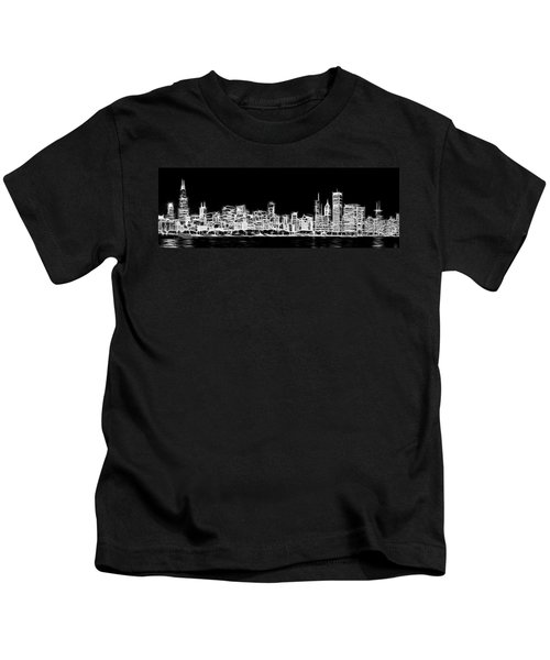Chicago Skyline Fractal Black And White Kids T-Shirt by Adam Romanowicz