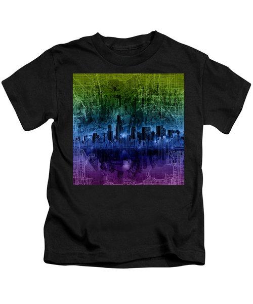 Chicago Skyline Gradient Version Kids T-Shirt