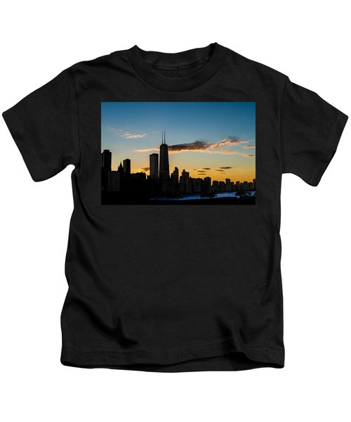 Chicago Skyline Silhouette Kids T-Shirt