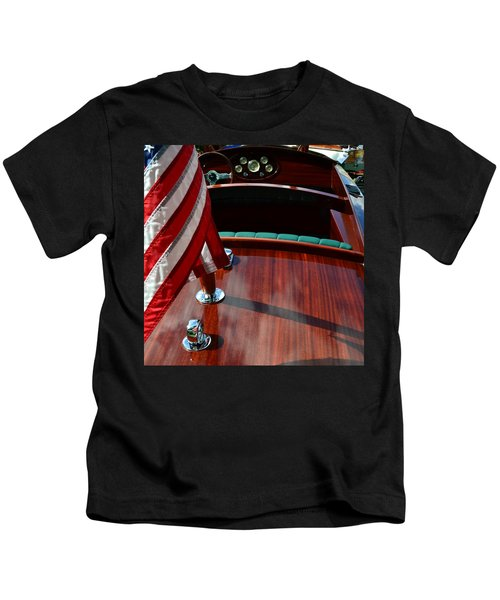 Chris Craft With Flag And Steering Wheel Kids T-Shirt