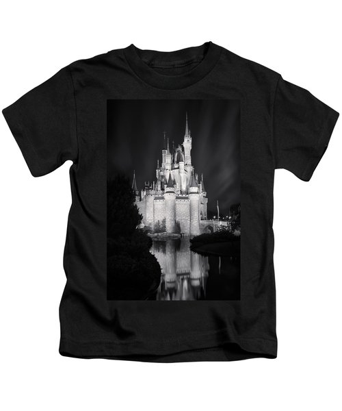 Cinderella's Castle Reflection Black And White Kids T-Shirt