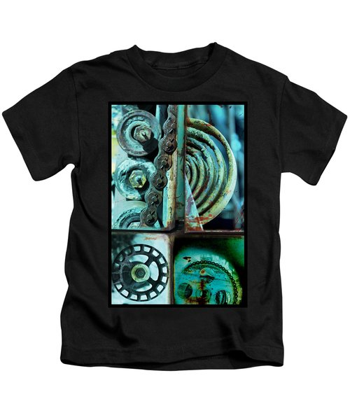 Circle Collage In Blue Kids T-Shirt
