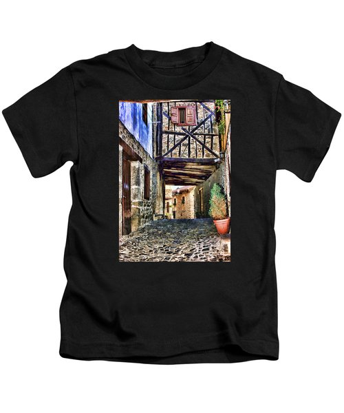 Cobble Streets Of Potes Spain By Diana Sainz Kids T-Shirt